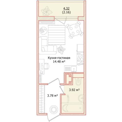 1-комнатная квартира на продажу (24,3 м<sup>2</sup>)