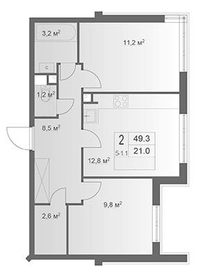 3-комнатная квартира на продажу (49,3 м<sup>2</sup>)