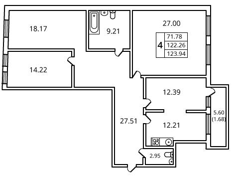 4-комнатная квартира на продажу (126,6 м<sup>2</sup>)
