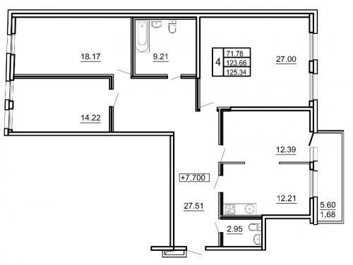 4-комнатная квартира на продажу (128,1 м<sup>2</sup>)