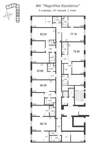 3-комнатная квартира на продажу (65,0 м<sup>2</sup>)
