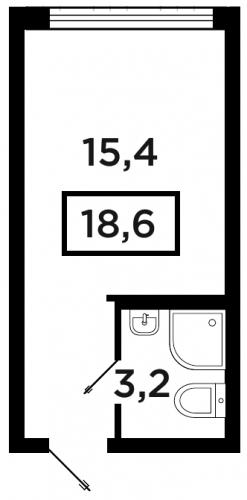 Студия на продажу (18,6 м<sup>2</sup>)