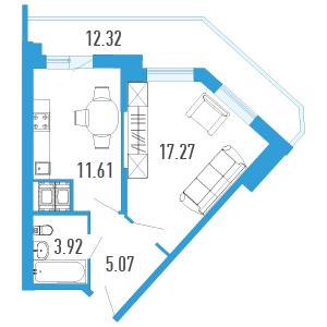 1-комнатная квартира на продажу (42,0 м<sup>2</sup>)