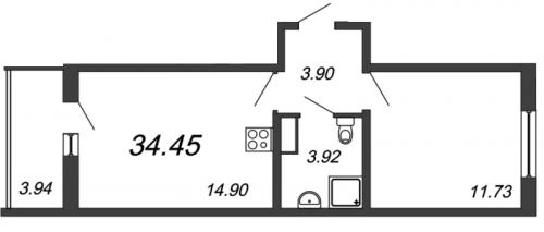 2-комнатная квартира на продажу (34,5 м<sup>2</sup>)