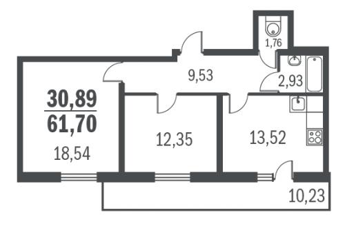2-комнатная квартира на продажу (60,4 м<sup>2</sup>)