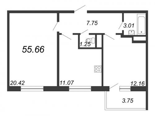 2-комнатная квартира на продажу (55,7 м<sup>2</sup>)