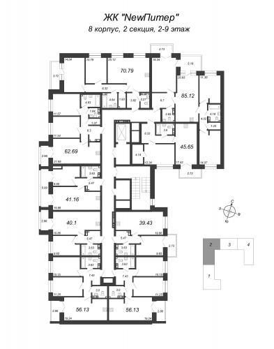 4-комнатная квартира на продажу (85,3 м<sup>2</sup>)