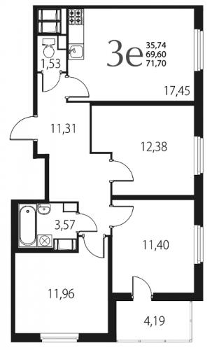 4-комнатная квартира на продажу (71,7 м<sup>2</sup>)
