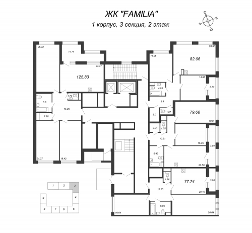 3-комнатная квартира на продажу (79,7 м<sup>2</sup>)