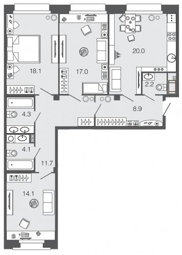 3-комнатная квартира на продажу (100,4 м<sup>2</sup>)