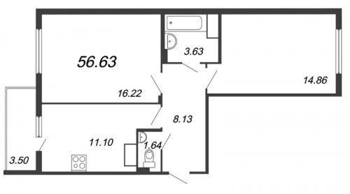 2-комнатная квартира на продажу (54,7 м<sup>2</sup>)