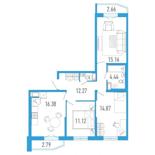 3-комнатная квартира на продажу (77,0 м<sup>2</sup>)