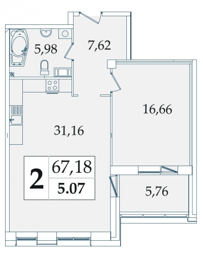 2-комнатная квартира на продажу (66,9 м<sup>2</sup>)
