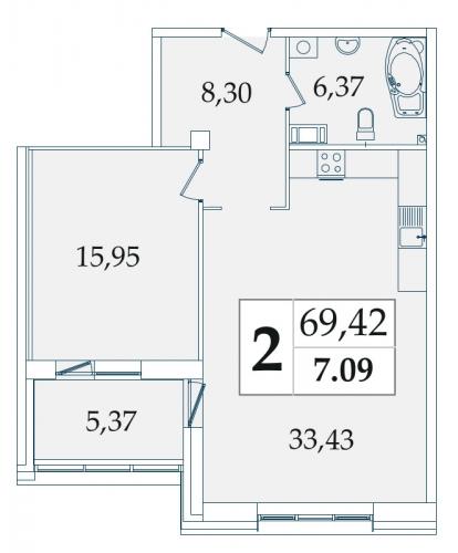 2-комнатная квартира на продажу (69,6 м<sup>2</sup>)