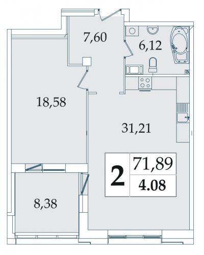 2-комнатная квартира на продажу (71,1 м<sup>2</sup>)