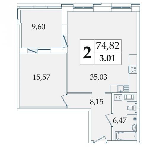 2-комнатная квартира на продажу (75,1 м<sup>2</sup>)