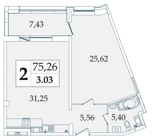 2-комнатная квартира на продажу (75,4 м<sup>2</sup>)