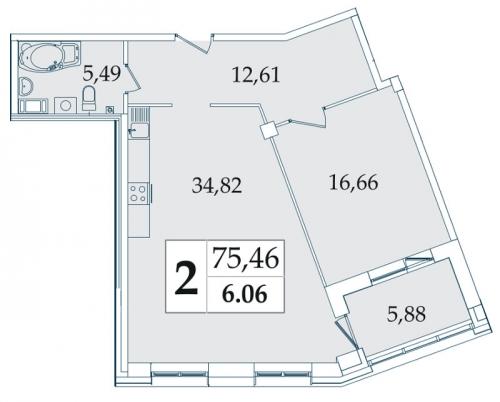 2-комнатная квартира на продажу (74,7 м<sup>2</sup>)