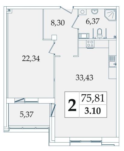 2-комнатная квартира на продажу (76,1 м<sup>2</sup>)