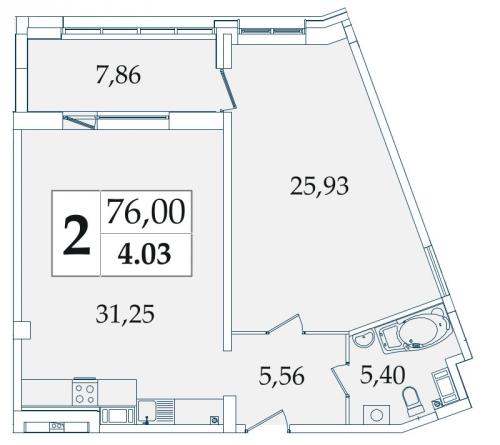 2-комнатная квартира на продажу (75,6 м<sup>2</sup>)