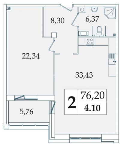 2-комнатная квартира на продажу (76,7 м<sup>2</sup>)