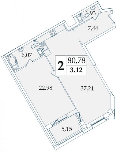 2-комнатная квартира на продажу (80,6 м<sup>2</sup>)