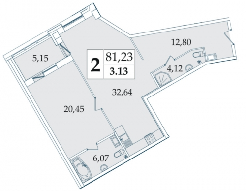 2-комнатная квартира на продажу (81,6 м<sup>2</sup>)