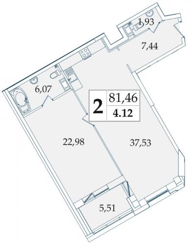 2-комнатная квартира на продажу (81,3 м<sup>2</sup>)