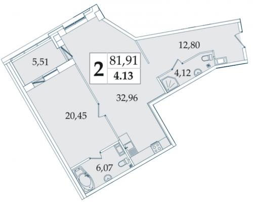 2-комнатная квартира на продажу (82,2 м<sup>2</sup>)