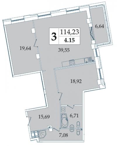 3-комнатная квартира на продажу (114,3 м<sup>2</sup>)