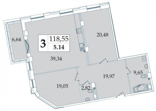 3-комнатная квартира на продажу (118,7 м<sup>2</sup>)