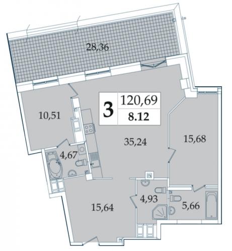 3-комнатная квартира на продажу (120,6 м<sup>2</sup>)