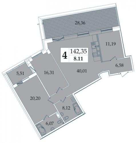 4-комнатная квартира на продажу (141,6 м<sup>2</sup>)