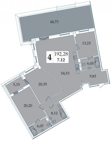 4-комнатная квартира на продажу (192,3 м<sup>2</sup>)