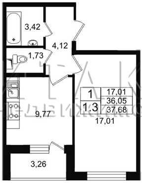 1-комнатная квартира на продажу (37,7 м<sup>2</sup>)