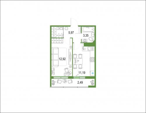 1-комнатная квартира на продажу (35,9 м<sup>2</sup>)