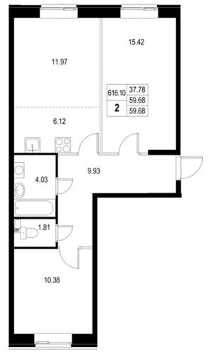3-комнатная квартира на продажу (59,4 м<sup>2</sup>)