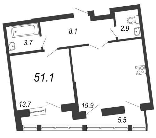 2-комнатная квартира на продажу (51,1 м<sup>2</sup>)
