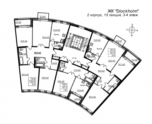 4-комнатная квартира на продажу (124,6 м<sup>2</sup>)