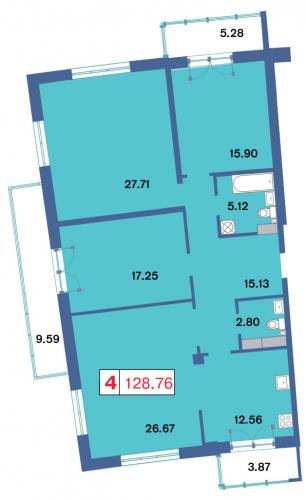 4-комнатная квартира на продажу (127,7 м<sup>2</sup>)