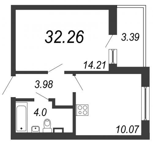 1-комнатная квартира на продажу (32,3 м<sup>2</sup>)
