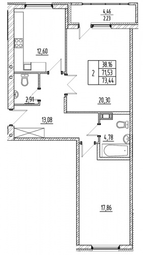 2-комнатная квартира на продажу (71,5 м<sup>2</sup>)