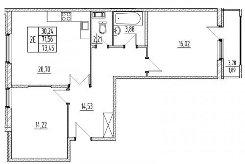 3-комнатная квартира на продажу (71,6 м<sup>2</sup>)