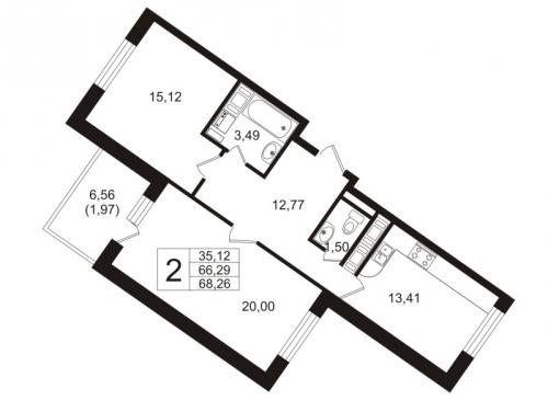 2-комнатная квартира на продажу (67,2 м<sup>2</sup>)