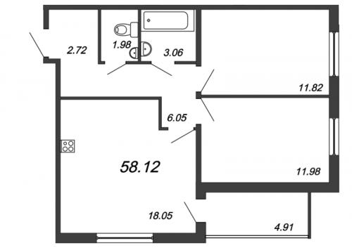 3-комнатная квартира на продажу (58,1 м<sup>2</sup>)