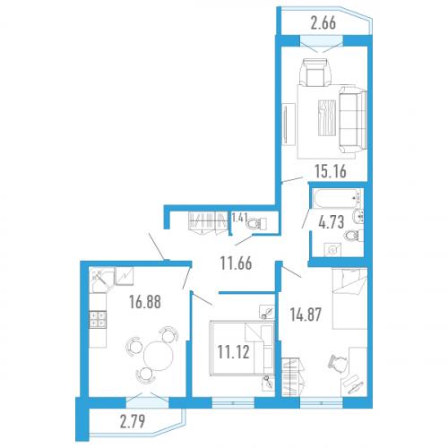 3-комнатная квартира на продажу (78,0 м<sup>2</sup>)