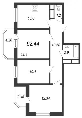 3-комнатная квартира на продажу (67,3 м<sup>2</sup>)