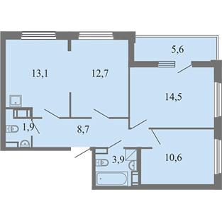 3-комнатная квартира на продажу (66,3 м<sup>2</sup>)