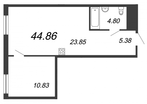 2-комнатная квартира на продажу (44,9 м<sup>2</sup>)