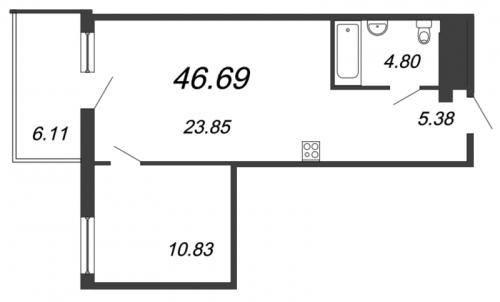 2-комнатная квартира на продажу (44,8 м<sup>2</sup>)